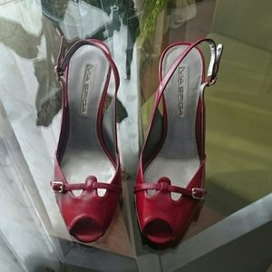 VIA SPIGA red sling back pumps